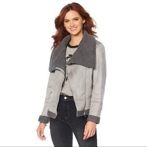 Americana Studded Faux Suede Sherpa jacket-Gray